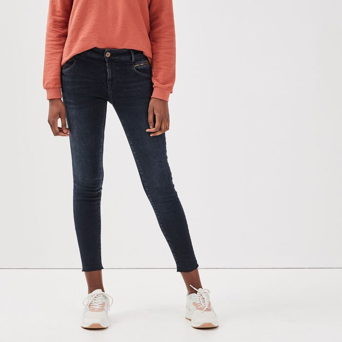Jeans skinny à bords francs denim blue black femme