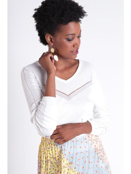 Pull manches longues ajoure blanc femme