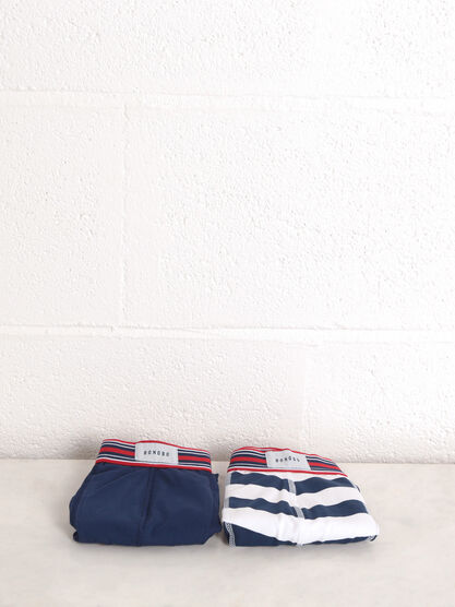 Lot 2 boxers taille elastiquee bleu fonce homme