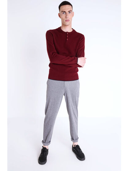 Pull col rond maille chinee bordeaux homme