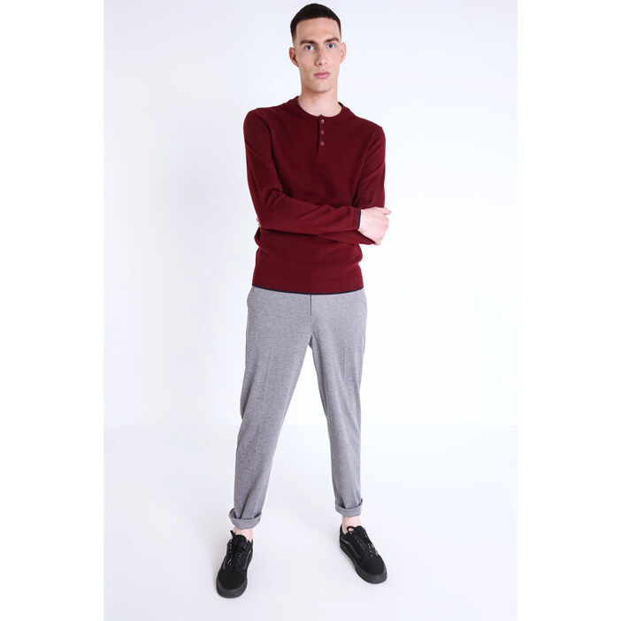 Pull col rond maille chinée bordeaux homme