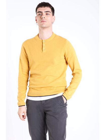 Pull col rond maille chinee jaune fonce homme