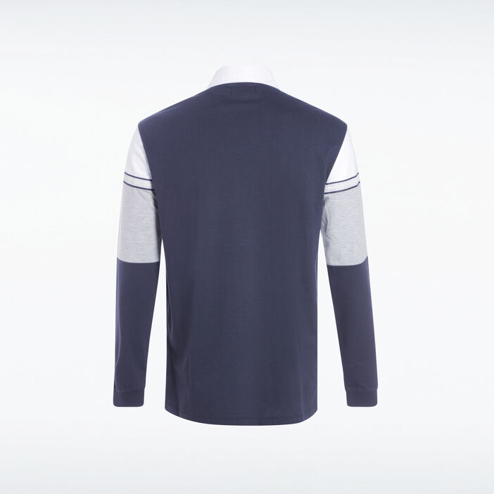Polo manches longues bleu marine homme