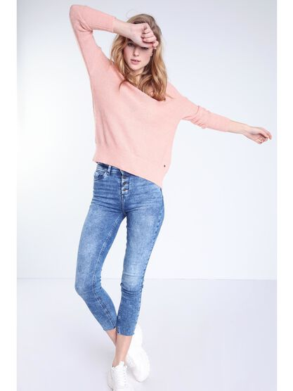 Pull manches longues mohair rose femme